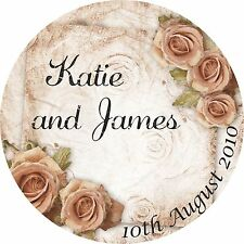 40 Personalised Wedding Sticker Seals Labels Mr and Mrs Roses Favours Favor