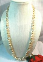 "Miriam Haskell Vintage 30"" Glass Pearls and Crystal Necklace"