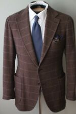Luigi Borrelli Napoli LV Brown Glen Plaid Check Patch Pckt Unstructured Cashmere