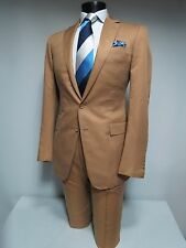 Current Ralph Lauren Purple label Custom Fit 100 silk Dark camel beige suit 40 L