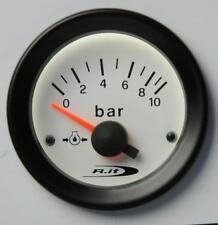 Manometro Strumento Road Italia VDO Style Pressione Olio 0-10 BAR 52mm Bianco