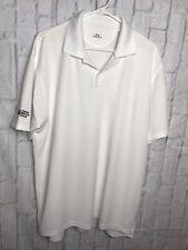 Under Armour Short Sleeve Polo Men Sz Medium White KBS Logo Capital Market Group