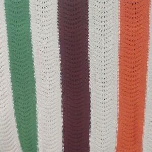 Striped Crochet Afghan Cream Orange Olive Green Brown 58 x 52 Farmhouse Cottage