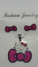 Stainless Steel Hello Kitty Pendant and Earrings - Pink