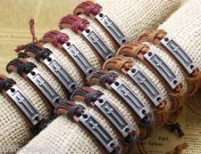 12x/lot Metal Long Cross Bracelets Leather Wrap Bands For Men and Women