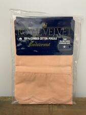 New listing 2 Vintage Royal Velvet Combed Percale Pillowcases Coral Scalloped Edge Nos