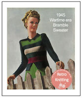 1940's Wartime Striped Jumper Vintage Knitting Pattern Copy
