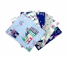 Fat Quarter Bundle, 100% Cotton, Christmas Village, Blue, Pack of 6, Winter