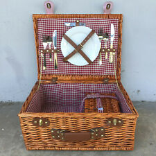 Pier 1 Wicker Picnic Basket Set, Plates, Utensils, Cork Screw