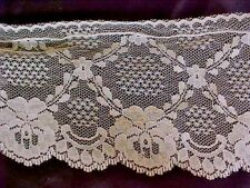 """Lace Trim 3 3/4"""" Width 4 3/ 4 Yards Cream Embroidered Scalloped and Wired Edges"""