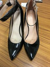Ladies Black patent court shoes Size 5 With Ankle Strap By Moda In Pelle