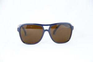 Vintage Vuarnet 003D Small Blue Metal Sunglasses PX5000 Brown Mineral lens