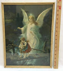 Guardian Angel With Children f17X13 Print Picture Christian Art Wood Frame