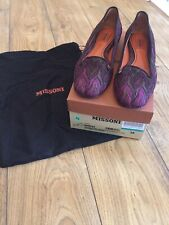 Missoni pink and brown flat brocade shoe worn one Size 5