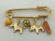 Gold Plated Pin with Zebra/Pony Charms & Beads