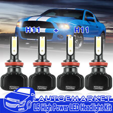 2Pair H11 + H11 Combo Total 800W 80000LM LED Car DRL Headlight Kit Bulbs 6500K