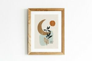 Botanical print boho minimalist wall art poster - home decor (without frame)