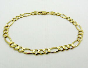 "Solid 10k Yellow Gold Figaro Style Bracelet 8.25"" long 6.1 grams"