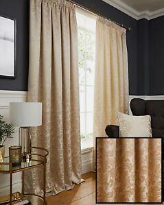 Natural Cream Damask Jacquard Pair Of Tape Top Pencil Pleat Fully Lined Curtains