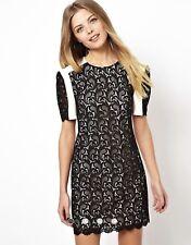 Asos Premium Mini Shift Dress With Contrast Lace Size 18 UK