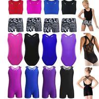 Girls Ballet Gymnastics Leotard Bra Top+Shorts Kids Outfit Sports Gym Dance Wear