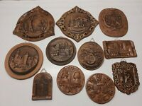 Various Vintage Clay HUNGARY WALL PLAQUES Home Wall Decor Hangings Lot of 11
