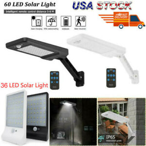 US 60 LED Solar Dimmable Wall Street Light PIR Motion Sensor Outdoor Garden Lamp