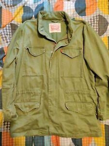 Levi Denim Jacket Military Style Olive Green Fold Away Hood Size Extra Large