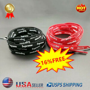 RED OR BLACK SUPREME Shoelaces Double Sided Stamped Logo FREE PRIORITY SHIPPING