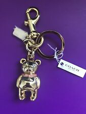 Authentic Coach Teddy Bear Key Chain Ring Purse Charm NEW 87166 Gold