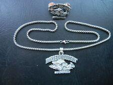 HARLEY DAVIDSON PEWTER PENDANT STAINLESS STEEL CHAIN NECKLACE AND VEST PIN