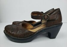 Børn Brown Floral Stitching Mary Jane Buckle Clog Heel Womens Size 8/39