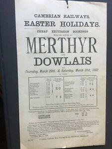 CAMBRIAN RAILWAYS: NICE EXCURSION MINI-POSTER FOR MERTHYR & DOWLAIS, 1888!