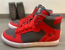 Supra Vaider Hi Top Trainers Red Dark Grey Size 8 UK 42 EU New Without Box
