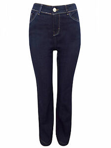 NEW WOMENS EX NEW LOOK 5 POCKETS STRAIGHT LEG DARK BLUE JEANS STRETCHY UK6 - 16