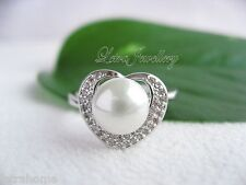 AAA White Round Shell Pearl 925 Silver Plated Clear Stone Heart Rings R017