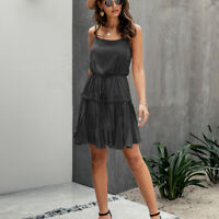 Women's Casual Spaghetti Strap Sleeveless Solid Ruffled Hem Swing Mini Dresses