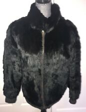 Unisex Sz L/XL Reversable Black Rabbit & Leather Zipper Bomber Jacket Coat