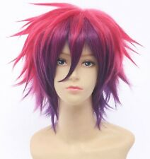 No Game No Life Sora Short Anime Cosplay Costume Hair Wig Red Purple Party Wigs