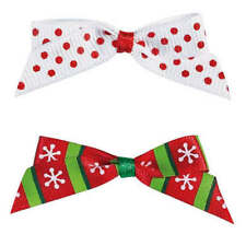 Dog Puppy Grooming Bow - Aria - Candy Cane - Set Of 4 Christmas Bows