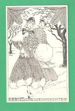 VINTAGE E. MULLNER CHRISTMAS ART POSTCARD BEAUTIFUL LADIES MISTLETOE MUFF SNOW