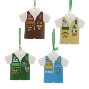 Set of 4 Girl Scouts of the USA Vest Ornaments w