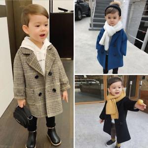 Boys Kids Wool Blend Trench Coat Double Breasted Warm Overcoat Winterwear Jacket