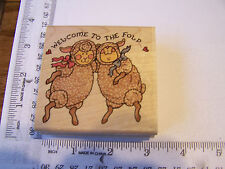 LAMBS SHEEP DANCING WELCOME TO THE FOLD  WM RUBBER STAMPS NEW BABY NEW COWORKER