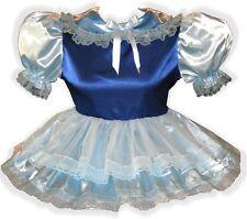 """Amy"" Custom Fit BLUE Satin & Sheer Adult LG Sissy Baby Dress LEANNE"