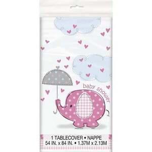 Unique Party UK Unique Pink Umbrellaphant Baby Shower Tablecover 41653