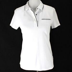 Fabletics Versailles Polo Shirt Womens Sz S White Short Sleeve Cotton Blend