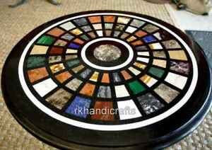 16 Inches Marble Side Table Top Inlay with Multi Stones Coffee Table Home Decor