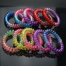 Fashion Women Gradient Elastic Rubber Telephone Wire Hair Ropes Hairbands 5pcs