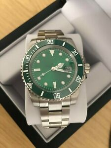 Men's Classic Green Watch, Automatic Movement With Ceramic Bezel + Watch Box